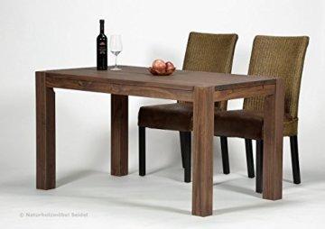 Esstisch Rio Bonito 140x80 cm, Pinie Massivholz, geölt und gewachst, Holz Tisch für Esszimmer, Wohnzimmer Küche, Farbton Cognac braun, Optional: passende Bänke und Ansteckplatten - 3