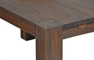 Esstisch Rio Bonito 140x80 cm, Pinie Massivholz, geölt und gewachst, Holz Tisch für Esszimmer, Wohnzimmer Küche, Farbton Cognac braun, Optional: passende Bänke und Ansteckplatten - 4