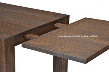 Esstisch Rio Bonito 140x80 cm, Pinie Massivholz, geölt und gewachst, Holz Tisch für Esszimmer, Wohnzimmer Küche, Farbton Cognac braun, Optional: passende Bänke und Ansteckplatten - 6