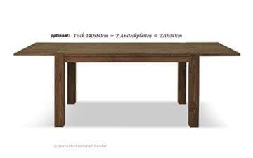 Esstisch Rio Bonito 140x80 cm, Pinie Massivholz, geölt und gewachst, Holz Tisch für Esszimmer, Wohnzimmer Küche, Farbton Cognac braun, Optional: passende Bänke und Ansteckplatten - 8