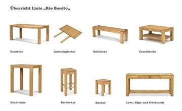 Esstisch ,,Rio Bonito,, 80x80 cm quadratisch, Pinie Massivholz, geölt und gewachst, Holz Tisch für Esszimmer, Wohnzimmer Küche, Farbton Honig hell, Optional: passende Bänke und Stühle - 4