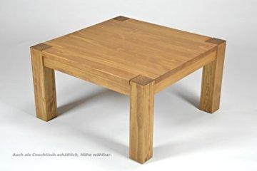 Esstisch ,,Rio Bonito,, 80x80 cm quadratisch, Pinie Massivholz, geölt und gewachst, Holz Tisch für Esszimmer, Wohnzimmer Küche, Farbton Honig hell, Optional: passende Bänke und Stühle - 6