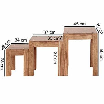 FineBuy 3er Set Satztisch Massiv-Holz Akazie Wohnzimmer-Tisch Landhaus-Stil Beistelltisch dunkel-braun Naturholz Couchtisch Natur-Produkt Wohnzimmermöbel Unikat Massivholzmöbel Echtholz Anstelltisch - 4