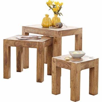 FineBuy 3er Set Satztisch Massiv-Holz Akazie Wohnzimmer-Tisch Landhaus-Stil Beistelltisch dunkel-braun Naturholz Couchtisch Natur-Produkt Wohnzimmermöbel Unikat Massivholzmöbel Echtholz Anstelltisch - 1