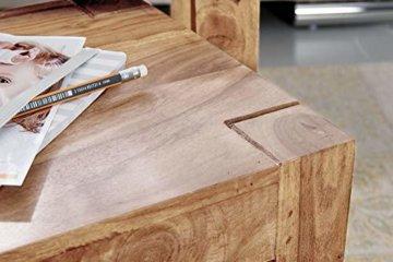 FineBuy 3er Set Satztisch Massiv-Holz Akazie Wohnzimmer-Tisch Landhaus-Stil Beistelltisch dunkel-braun Naturholz Couchtisch Natur-Produkt Wohnzimmermöbel Unikat Massivholzmöbel Echtholz Anstelltisch - 5