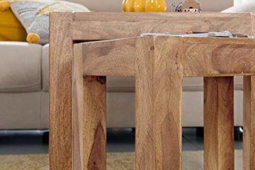 FineBuy 3er Set Satztisch Massiv-Holz Akazie Wohnzimmer-Tisch Landhaus-Stil Beistelltisch dunkel-braun Naturholz Couchtisch Natur-Produkt Wohnzimmermöbel Unikat Massivholzmöbel Echtholz Anstelltisch - 7