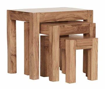 FineBuy 3er Set Satztisch Massiv-Holz Akazie Wohnzimmer-Tisch Landhaus-Stil Beistelltisch dunkel-braun Naturholz Couchtisch Natur-Produkt Wohnzimmermöbel Unikat Massivholzmöbel Echtholz Anstelltisch - 8