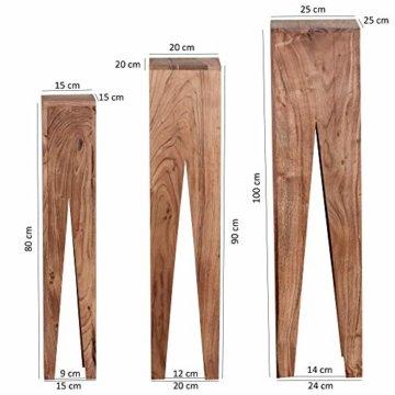 FineBuy Beistelltisch 3er Set Massivholz Akazie Wohnzimmer-Tisch Design Säulen Landhausstil Couchtisch quadratisch Holztisch Natur-Produkt braun Echt-Holz Unikat Türme 4 Stanbeine Anstelltische - 3