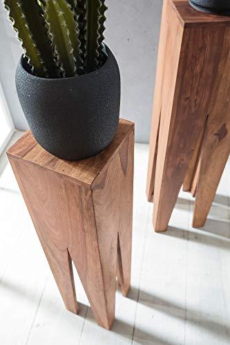 FineBuy Beistelltisch 3er Set Massivholz Akazie Wohnzimmer-Tisch Design Säulen Landhausstil Couchtisch quadratisch Holztisch Natur-Produkt braun Echt-Holz Unikat Türme 4 Stanbeine Anstelltische - 6