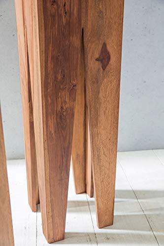 FineBuy Beistelltisch 3er Set Massivholz Akazie Wohnzimmer-Tisch Design Säulen Landhausstil Couchtisch quadratisch Holztisch Natur-Produkt braun Echt-Holz Unikat Türme 4 Stanbeine Anstelltische - 7