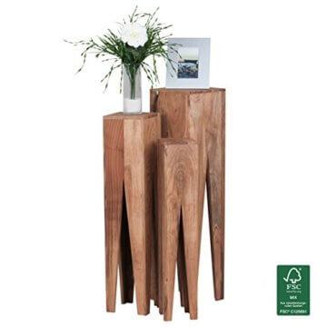 FineBuy Beistelltisch 3er Set Massivholz Akazie Wohnzimmer-Tisch Design Säulen Landhausstil Couchtisch quadratisch Holztisch Natur-Produkt braun Echt-Holz Unikat Türme 4 Stanbeine Anstelltische - 8