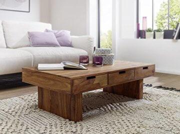 FineBuy Couchtisch Massivholz Design Wohnzimmer-Tisch 110 x 60 cm 3 Schubladen Landhaus-Stil Holztisch rechteckig Natur-Produkt Massiv-Holz-Tisch Wohnzimmer-Möbel mit Funktion und Stauraum - 2