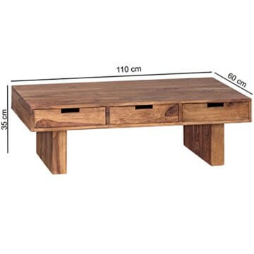 FineBuy Couchtisch Massivholz Design Wohnzimmer-Tisch 110 x 60 cm 3 Schubladen Landhaus-Stil Holztisch rechteckig Natur-Produkt Massiv-Holz-Tisch Wohnzimmer-Möbel mit Funktion und Stauraum - 3