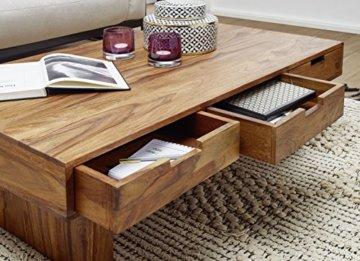 FineBuy Couchtisch Massivholz Design Wohnzimmer-Tisch 110 x 60 cm 3 Schubladen Landhaus-Stil Holztisch rechteckig Natur-Produkt Massiv-Holz-Tisch Wohnzimmer-Möbel mit Funktion und Stauraum - 4