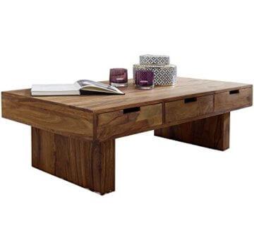FineBuy Couchtisch Massivholz Design Wohnzimmer-Tisch 110 x 60 cm 3 Schubladen Landhaus-Stil Holztisch rechteckig Natur-Produkt Massiv-Holz-Tisch Wohnzimmer-Möbel mit Funktion und Stauraum - 1
