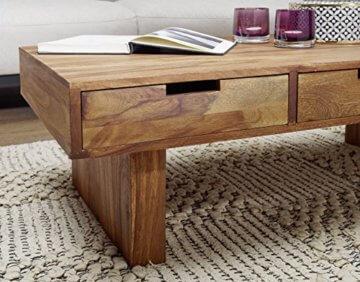 FineBuy Couchtisch Massivholz Design Wohnzimmer-Tisch 110 x 60 cm 3 Schubladen Landhaus-Stil Holztisch rechteckig Natur-Produkt Massiv-Holz-Tisch Wohnzimmer-Möbel mit Funktion und Stauraum - 5