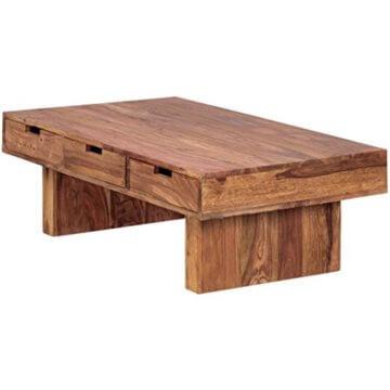 FineBuy Couchtisch Massivholz Design Wohnzimmer-Tisch 110 x 60 cm 3 Schubladen Landhaus-Stil Holztisch rechteckig Natur-Produkt Massiv-Holz-Tisch Wohnzimmer-Möbel mit Funktion und Stauraum - 6