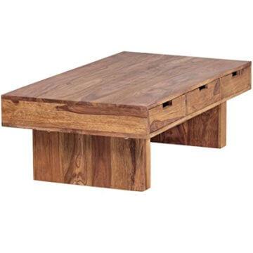 FineBuy Couchtisch Massivholz Design Wohnzimmer-Tisch 110 x 60 cm 3 Schubladen Landhaus-Stil Holztisch rechteckig Natur-Produkt Massiv-Holz-Tisch Wohnzimmer-Möbel mit Funktion und Stauraum - 7