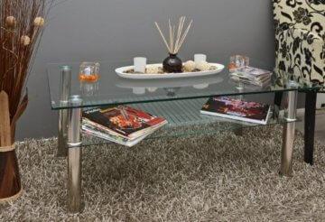 Glastisch 110 x 60 cm Wohnzimmertisch Couchtisch aus Edelstahl mit 10 mm ESG Sicherheitsglas - 2