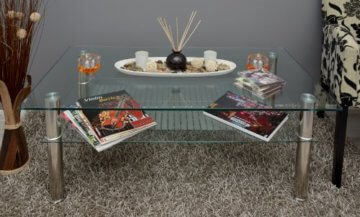 Glastisch 110 x 60 cm Wohnzimmertisch Couchtisch aus Edelstahl mit 10 mm ESG Sicherheitsglas - 3