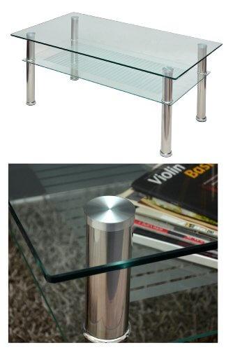 Glastisch 110 x 60 cm Wohnzimmertisch Couchtisch aus Edelstahl mit 10 mm ESG Sicherheitsglas - 4