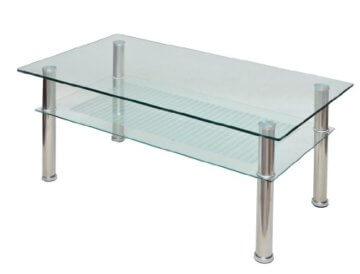 Glastisch 110 x 60 cm Wohnzimmertisch Couchtisch aus Edelstahl mit 10 mm ESG Sicherheitsglas - 1