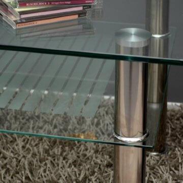 Glastisch 110 x 60 cm Wohnzimmertisch Couchtisch aus Edelstahl mit 10 mm ESG Sicherheitsglas - 5