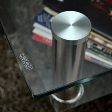 Glastisch 110 x 60 cm Wohnzimmertisch Couchtisch aus Edelstahl mit 10 mm ESG Sicherheitsglas - 6