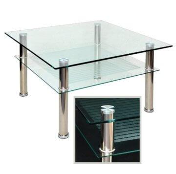 Glastisch 70 x 70 cm zarter Beistelltisch Ecktisch Couchtisch aus Edelstahl mit 10 mm ESG Sicherheitsglas - 2