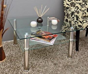 Glastisch 70 x 70 cm zarter Beistelltisch Ecktisch Couchtisch aus Edelstahl mit 10 mm ESG Sicherheitsglas - 3