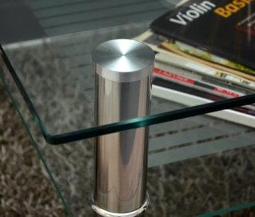 Glastisch 70 x 70 cm zarter Beistelltisch Ecktisch Couchtisch aus Edelstahl mit 10 mm ESG Sicherheitsglas - 4