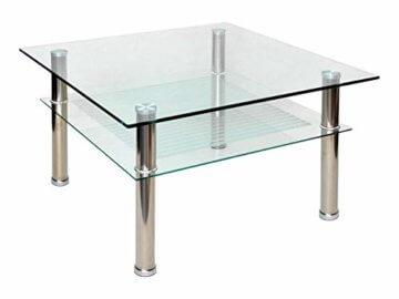 Glastisch 70 x 70 cm zarter Beistelltisch Ecktisch Couchtisch aus Edelstahl mit 10 mm ESG Sicherheitsglas - 1