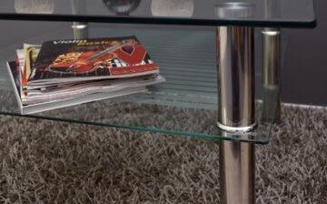 Glastisch 70 x 70 cm zarter Beistelltisch Ecktisch Couchtisch aus Edelstahl mit 10 mm ESG Sicherheitsglas - 5