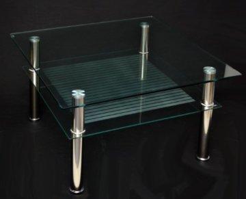 Glastisch 70 x 70 cm zarter Beistelltisch Ecktisch Couchtisch aus Edelstahl mit 10 mm ESG Sicherheitsglas - 7