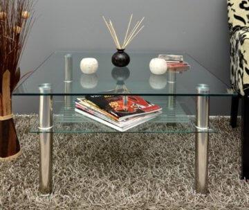 Glastisch 70 x 70 cm zarter Beistelltisch Ecktisch Couchtisch aus Edelstahl mit 10 mm ESG Sicherheitsglas - 8