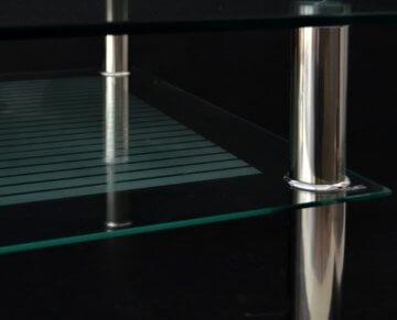 Glastisch 70 x 70 cm zarter Beistelltisch Ecktisch Couchtisch aus Edelstahl mit 10 mm ESG Sicherheitsglas - 9