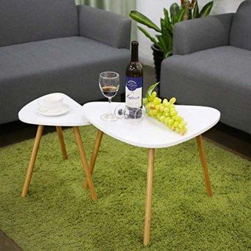 HOMFA 2x Beistelltisch weiß Couchtisch rund Wohnzimmertisch skandinavisch Kaffetisch klein Satztisch Set Groß(60x39,5x45cm),Klein(45x29,5x40cm) - 2