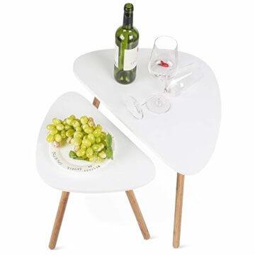 HOMFA 2x Beistelltisch weiß Couchtisch rund Wohnzimmertisch skandinavisch Kaffetisch klein Satztisch Set Groß(60x39,5x45cm),Klein(45x29,5x40cm) - 11