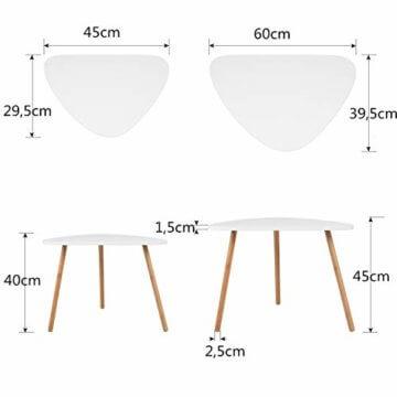 HOMFA 2x Beistelltisch weiß Couchtisch rund Wohnzimmertisch skandinavisch Kaffetisch klein Satztisch Set Groß(60x39,5x45cm),Klein(45x29,5x40cm) - 3