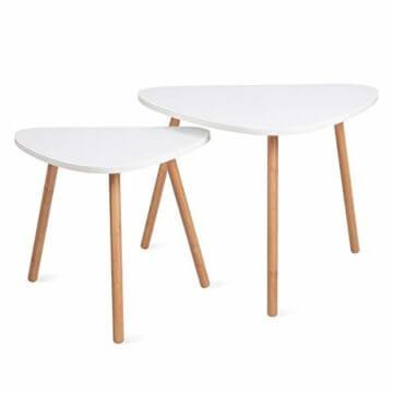 HOMFA 2x Beistelltisch weiß Couchtisch rund Wohnzimmertisch skandinavisch Kaffetisch klein Satztisch Set Groß(60x39,5x45cm),Klein(45x29,5x40cm) - 1