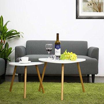 HOMFA 2x Beistelltisch weiß Couchtisch rund Wohnzimmertisch skandinavisch Kaffetisch klein Satztisch Set Groß(60x39,5x45cm),Klein(45x29,5x40cm) - 6