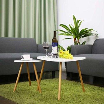 HOMFA 2x Beistelltisch weiß Couchtisch rund Wohnzimmertisch skandinavisch Kaffetisch klein Satztisch Set Groß(60x39,5x45cm),Klein(45x29,5x40cm) - 7