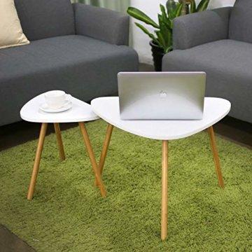 HOMFA 2x Beistelltisch weiß Couchtisch rund Wohnzimmertisch skandinavisch Kaffetisch klein Satztisch Set Groß(60x39,5x45cm),Klein(45x29,5x40cm) - 8