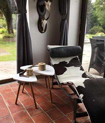 HOMFA 2x Beistelltisch weiß Couchtisch rund Wohnzimmertisch skandinavisch Kaffetisch klein Satztisch Set Groß(60x39,5x45cm),Klein(45x29,5x40cm) - 9
