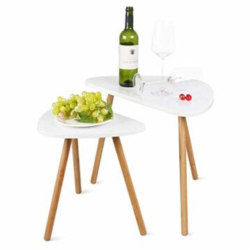 HOMFA 2x Beistelltisch weiß Couchtisch rund Wohnzimmertisch skandinavisch Kaffetisch klein Satztisch Set Groß(60x39,5x45cm),Klein(45x29,5x40cm) - 10