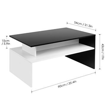 Homfa Couchtisch Wohnzimmertisch Beistelltisch Holztisch Kaffeetisch Holz 90x54x43cm (Schwarz+Weiß) - 2