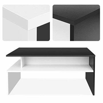 Homfa Couchtisch Wohnzimmertisch Beistelltisch Holztisch Kaffeetisch Holz 90x54x43cm (Schwarz+Weiß) - 3