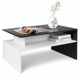 Homfa Couchtisch Wohnzimmertisch Beistelltisch Holztisch Kaffeetisch Holz 90x54x43cm (Schwarz+Weiß) - 1