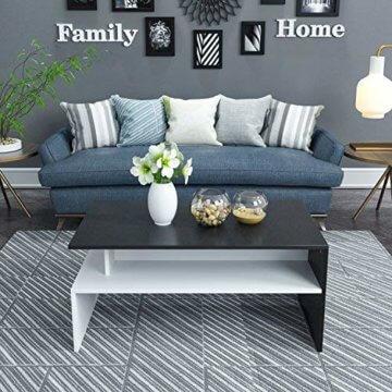 Homfa Couchtisch Wohnzimmertisch Beistelltisch Holztisch Kaffeetisch Holz 90x54x43cm (Schwarz+Weiß) - 5