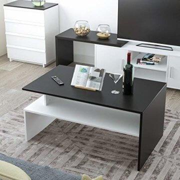 Homfa Couchtisch Wohnzimmertisch Beistelltisch Holztisch Kaffeetisch Holz 90x54x43cm (Schwarz+Weiß) - 6